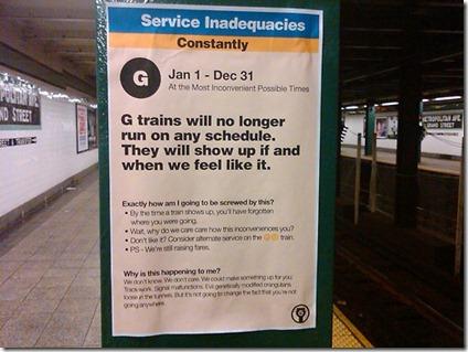 G Train Schedule